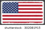 grunge usa flag.postage stamp... | Shutterstock .eps vector #302081915