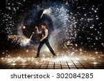 amazing fire show at night | Shutterstock . vector #302084285
