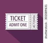 ticket icon. flat design.... | Shutterstock .eps vector #302089631