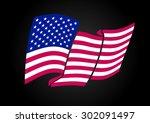 american flag waving. vector... | Shutterstock .eps vector #302091497