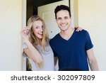 happy young couple man and... | Shutterstock . vector #302097809