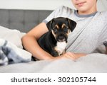 child protecting black puppy... | Shutterstock . vector #302105744
