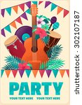 poster with guitar  percussion... | Shutterstock .eps vector #302107187