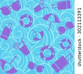 summer travel pattern background | Shutterstock .eps vector #302113391