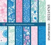 vector pink blue floral hand...   Shutterstock .eps vector #302114765