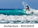 surfer in baja california.... | Shutterstock . vector #302126525