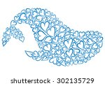 silhouette of whale made of...   Shutterstock .eps vector #302135729