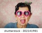older cool hispanic woman... | Shutterstock . vector #302141981