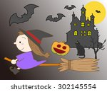 pretty witch to fly about on a... | Shutterstock .eps vector #302145554