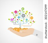 hand growth tree idea connected ... | Shutterstock .eps vector #302147099