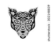 wild cat head tattoo | Shutterstock . vector #302148839