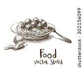 vector vintage sketch plate... | Shutterstock .eps vector #302156099