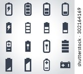 vector black battery icon set.  | Shutterstock .eps vector #302164169