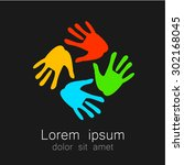 hands   template logo for the... | Shutterstock .eps vector #302168045