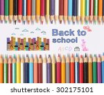 colour pencils on white... | Shutterstock . vector #302175101