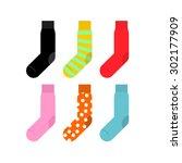 set colorful socks. vector... | Shutterstock .eps vector #302177909