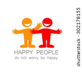 happy people   template mark.... | Shutterstock .eps vector #302178155