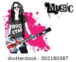 beautiful musician playing...   Shutterstock .eps vector #302180387