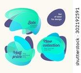set of cute blue color labels... | Shutterstock .eps vector #302192591
