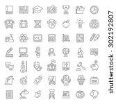 set of modern flat line art... | Shutterstock .eps vector #302192807