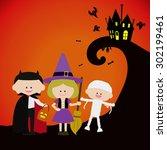 kids in halloween costume | Shutterstock .eps vector #302199461