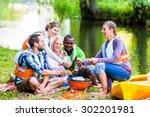 friends barbecue after sports... | Shutterstock . vector #302201981