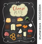 cheese plate  board menu design ... | Shutterstock .eps vector #302203004