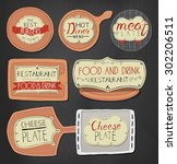 burgers logo set in vintage... | Shutterstock .eps vector #302206511