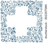 cross shape with medical icons... | Shutterstock . vector #302207084