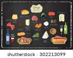 cheese board design with... | Shutterstock .eps vector #302213099