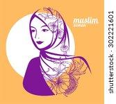 beautiful face of arabic muslim ... | Shutterstock .eps vector #302221601