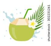 vector coconut juice with... | Shutterstock .eps vector #302231261