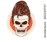 pompadour skull head. a skull...   Shutterstock .eps vector #302234747