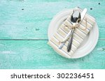 empty plate with cutlery fork... | Shutterstock . vector #302236451
