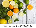 citrus fruits in basket.... | Shutterstock . vector #302245154