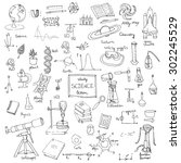 freehand drawing school items ... | Shutterstock .eps vector #302245529
