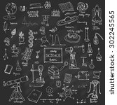 freehand drawing school items... | Shutterstock .eps vector #302245565