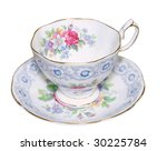 Antique Cup And Saucer Isolate...
