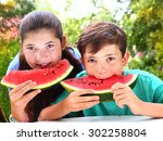 cute   siblings couple with... | Shutterstock . vector #302258804
