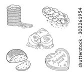 set of vector hand drawn... | Shutterstock .eps vector #302261954