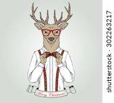 christmas deer character ... | Shutterstock .eps vector #302263217