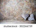 wooden hearts rustic style.... | Shutterstock . vector #302266739