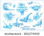 Blue Water Splash Icons