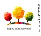 three vector autumn trees made... | Shutterstock .eps vector #302277269