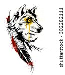 wolf's head with a feather | Shutterstock .eps vector #302282111