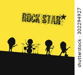 silhouette rock band on stage | Shutterstock .eps vector #302294927