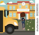 girl exiting school bus and... | Shutterstock .eps vector #302300531