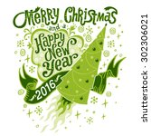 merry christmas and happy new... | Shutterstock .eps vector #302306021