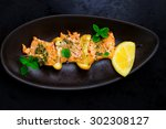 kebab from a salmon with a... | Shutterstock . vector #302308127