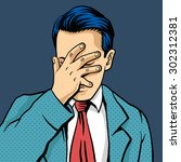 vector man facepalm comic... | Shutterstock .eps vector #302312381